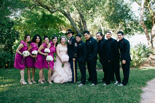 rustic elegant wedding with a layered pink Vera Wang wedding dress, photos by Erica Velasco | JunebugWeddings.com