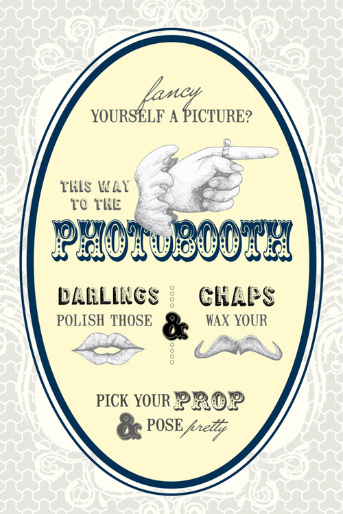 vintage style wedding and photo booth signs by Say Cheese Paper Props