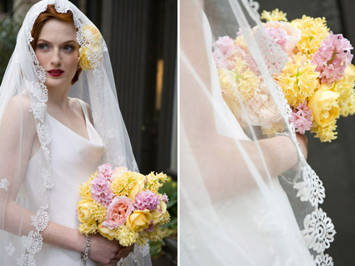 Hyacinth Bridal Bouquet, flowers by Bella Rugosa, photo by Cheri Pearl Photography for Junebug Weddings Vintage Fashion Report