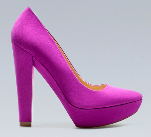fuchsia suede wedding shoes for fall and winter from Zara.com via junebugweddings.com