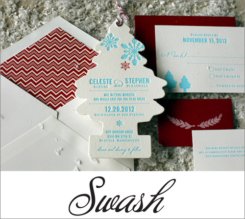 Swash Letterpress Wedding Invitations | junebugweddings.com