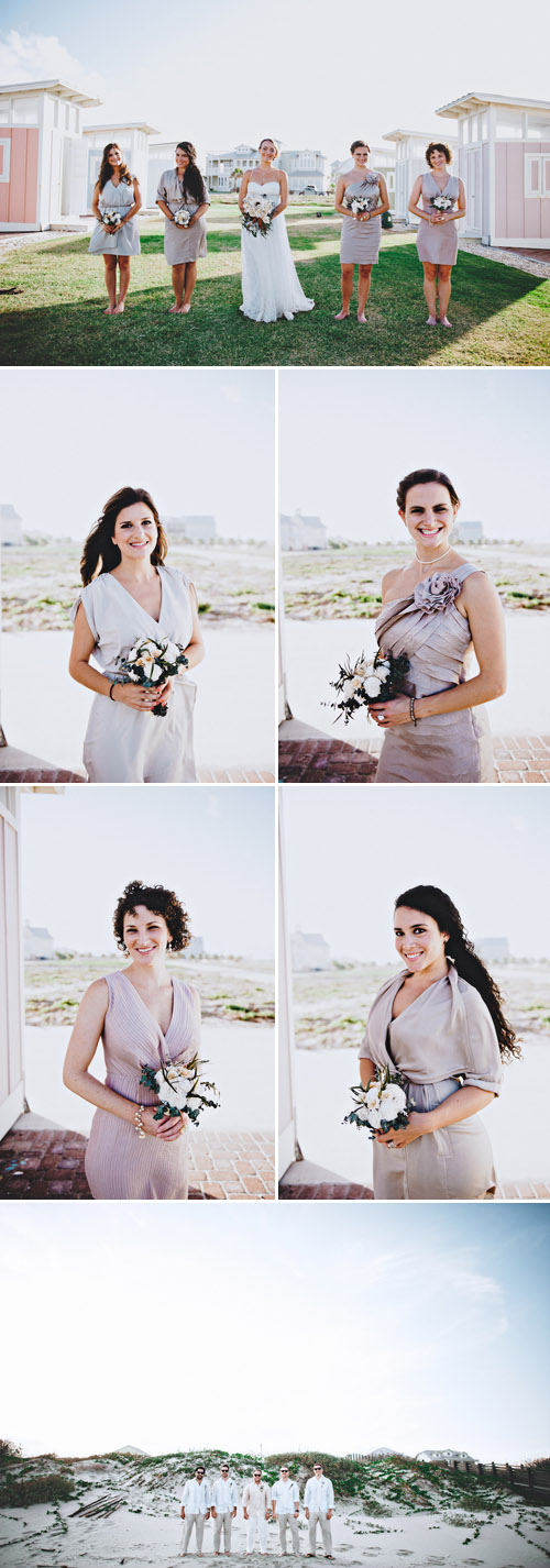 Port Aransas, Texas beach wedding with driftwood and wooden flower decor, photos by Joseph West Photography