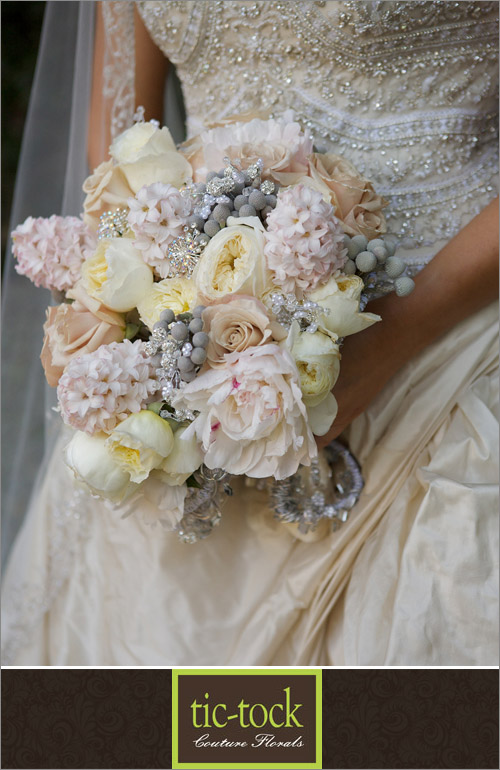 Glamorous bridal bouquet by tic-tock couture florals; photo by Kris Kan | junebugweddings.com