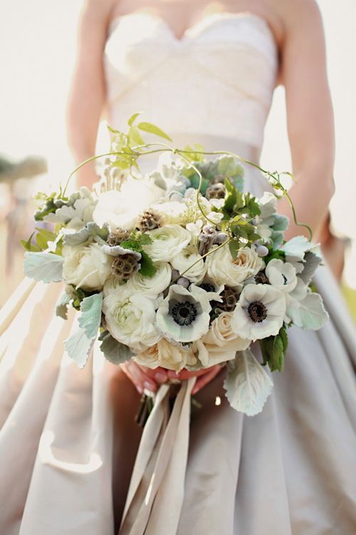 gorgeous wedding bouquet with garden roses, anemones, ranunculus and dusty miller by Steven Moore Designs - photo by Michele M Waite Photography | junebugweddings.com