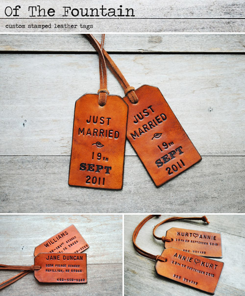 Travel honeymoon giveaway from junebugweddings.com - Of the Fountain leather luggage tags