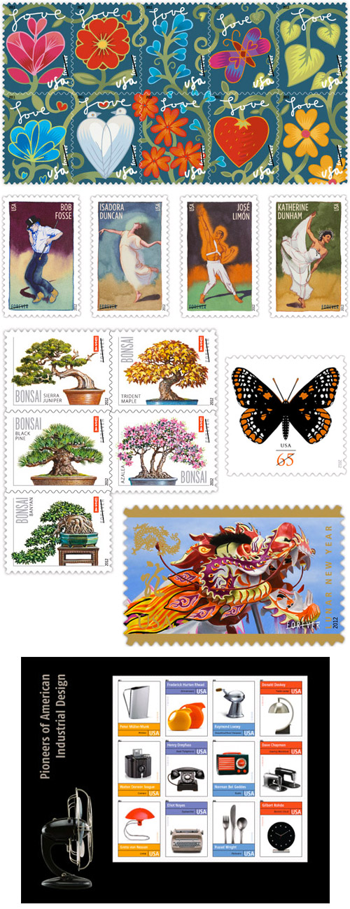 US Postal Service stamp information and designs, wedding invitation stamp ideas at Beyond the Perf and USA Philatelic