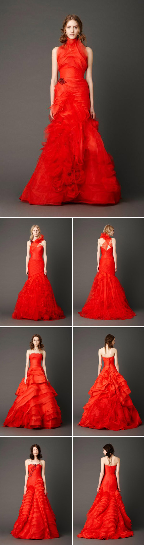 Vera Wang's red wedding dresses for spring 2013