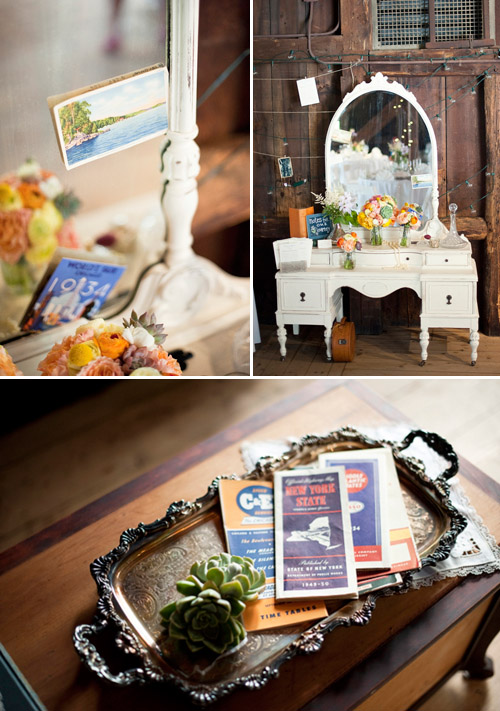 Country barn wedding with vintage travel theme - Justin and Mary Photography | Junebug Weddings