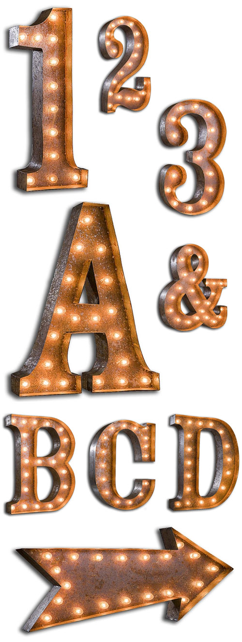 vintage letter and number marquee lights for wedding decor, via junebugweddings.com