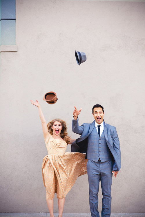 Singing in the Rain engagement photo shoot, vintage musical wedding style photos by Callaway Gable Photography