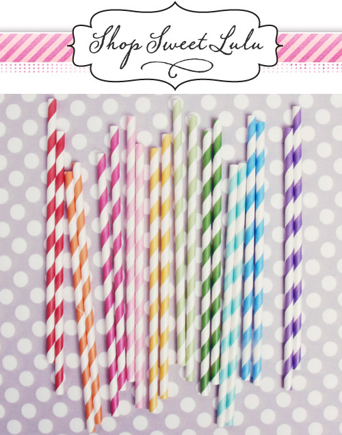 colorful paper straws and vintage style wedding decor and party supplies from Shop Sweet Lulu