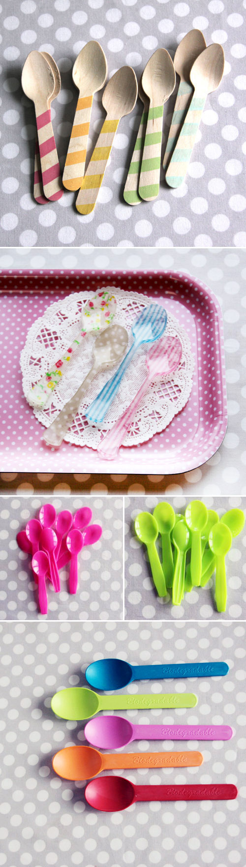 colorful wooden or plastic disposable silverware and vintage style wedding decor and party supplies from Shop Sweet Lulu