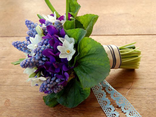 Violets and Grape Hyacinth Bouquet by Studio Choo