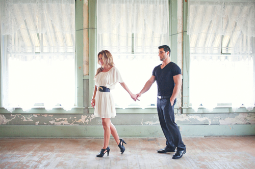 vintage warehouse loft engagement photo shoot by Amanda K Photography via JunebugWeddings.com