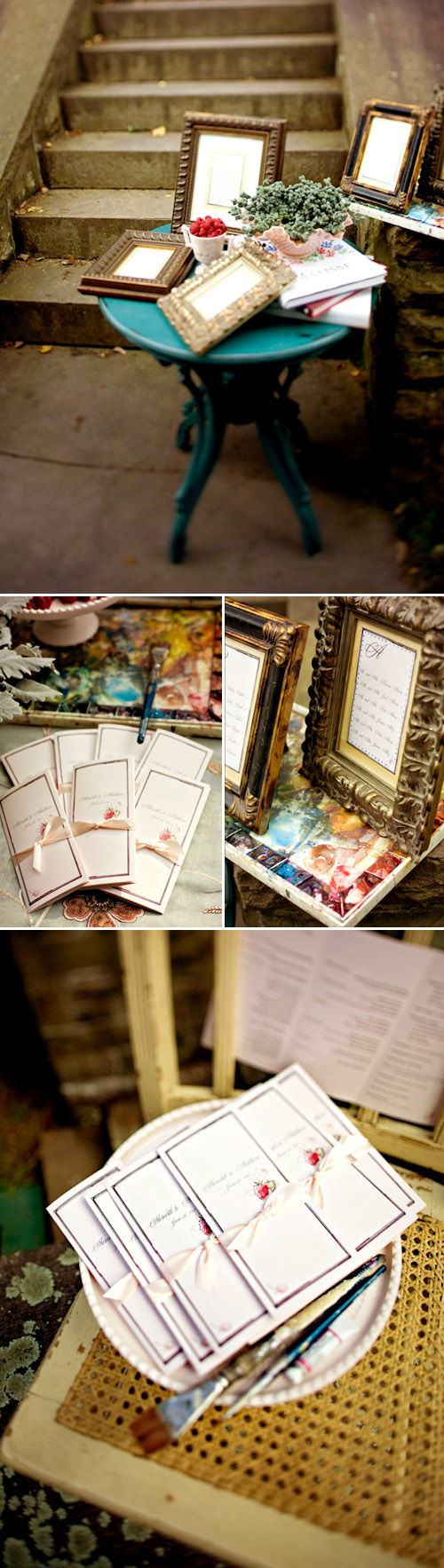 Watercolor inspired wedding decor by Momental Designs, photos by Darker Shades of Brown Photography | junebugweddings.com