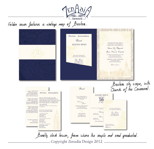Custom Wedding Invitations by Zenadia Design | via junebugweddings.com