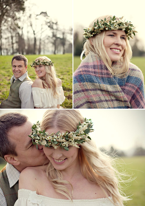 White flower crown of wheat, wax flower, and eucalyptus from UK designer fairy nuff flowers - Photos by Marianne Taylor Photography via Junebug Weddings