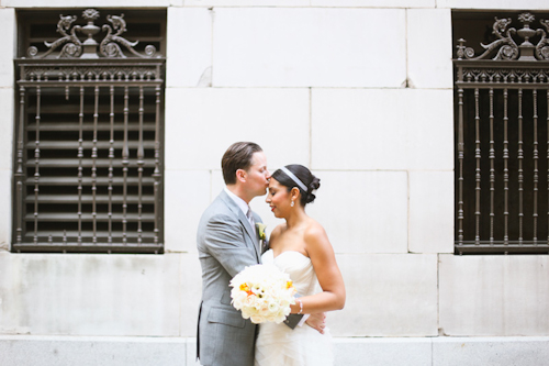 Elegant white, grey, and orange wedding; photos by Adrienne Gunde Photography | junebugweddings.com