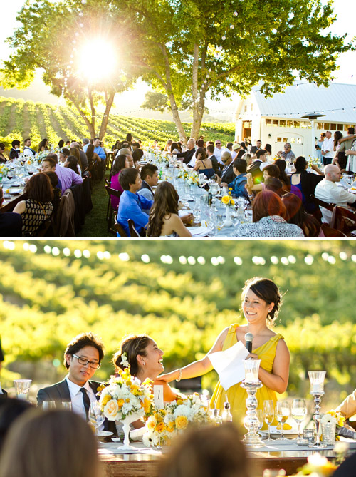 Elegant Yellow Wedding at HammerSky Vineyards - photos by Mike Larson | Junebug Weddings