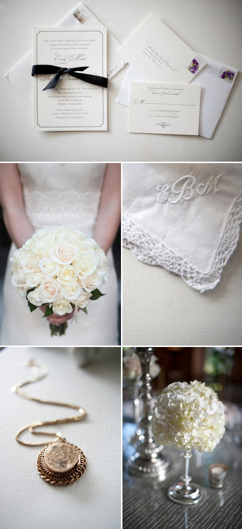 winter white wedding decor photographed by Justin + Mary | via junebugweddings.com