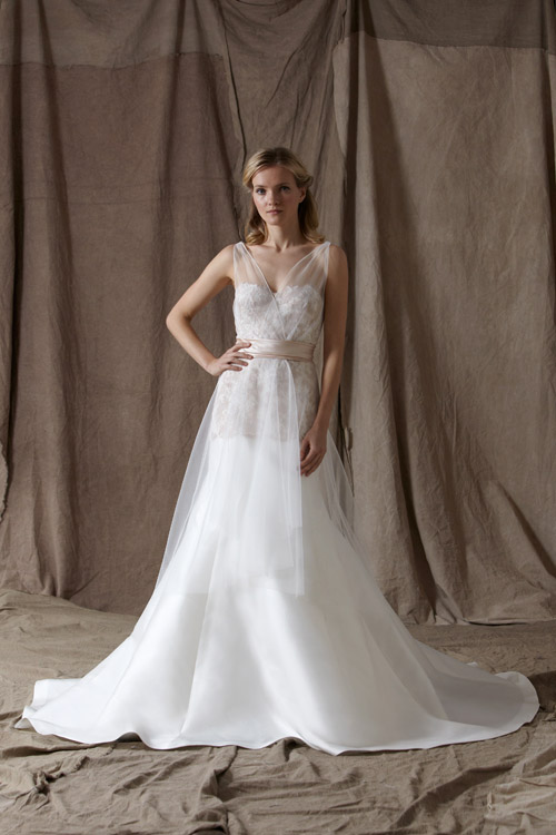 wedding dress by lela rose from her spring 2014 bridal collection via junebugweddingscom