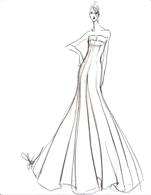 Wedding Dress Line Drawing : Rivini wedding dress from the spring bridal collection via