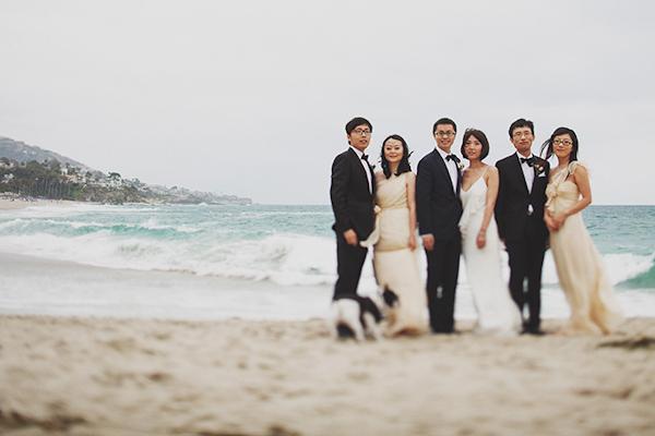 pink and white beach wedding at Montage Laguna Beach in California, photos by Erik Clausen  | via junebugweddings.com