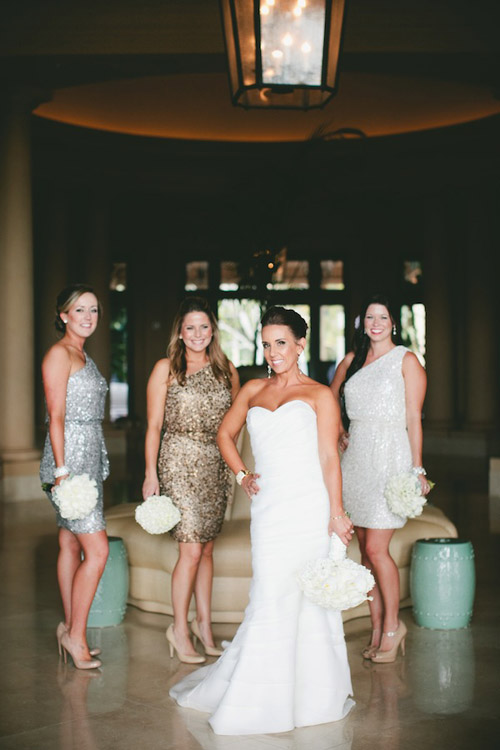 Glamorous Black, White and Gold Wedding with Sequin Bridesmaid Dresses