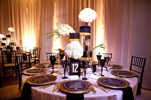 Glamorous Black, White and Gold Wedding with Sequin ...