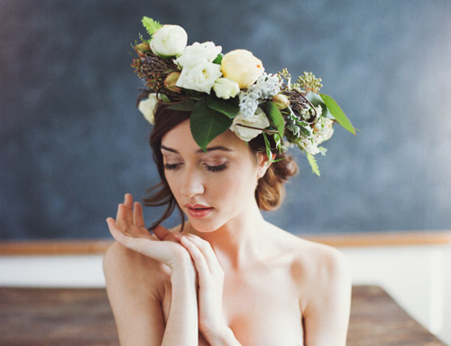 Bridal flower head wreath photo by Ben Sasso | via junebugweddings.com