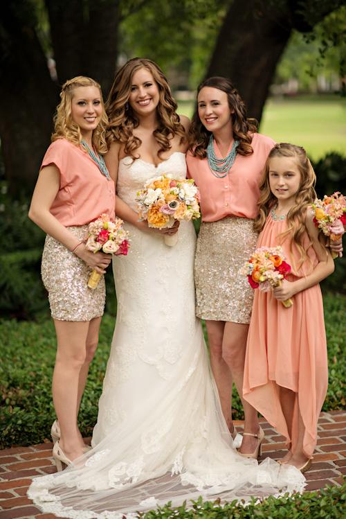 Coral, Gold, Teal and Charcoal Orlando Wedding | Junebug Weddings