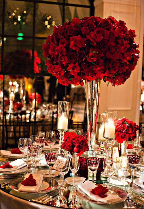 Old Hollywood Glamour Wedding Decor glamorous wedding by Mindy Weiss with red rose decor at Hotel Bel Air,  photos by