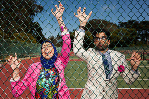 hilarious engagement photo by Marcel Siegle of Marcel & Meher Photography | junebugweddings.com