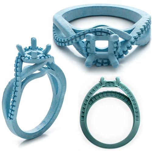 custom engagement and wedding ring wax model from joseph jewelry via junebugweddingscom - Custom Wedding Rings
