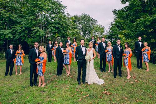 navy and orange nautical style wedding in Connecticut by Sarah Tew Photography | via junebugweddings.com