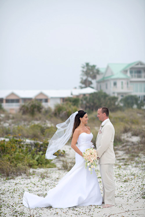 clearwater florida beach wedding with a white sand and pink wedding color palette