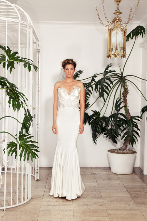 wedding dress by Rachel Gilbert | via junebugweddings.com