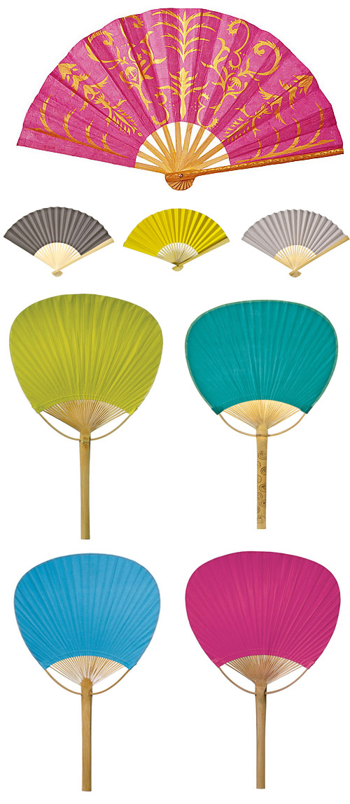 paper hand fans for summer weddings from LunaBazaar.com | via junebugweddings.com