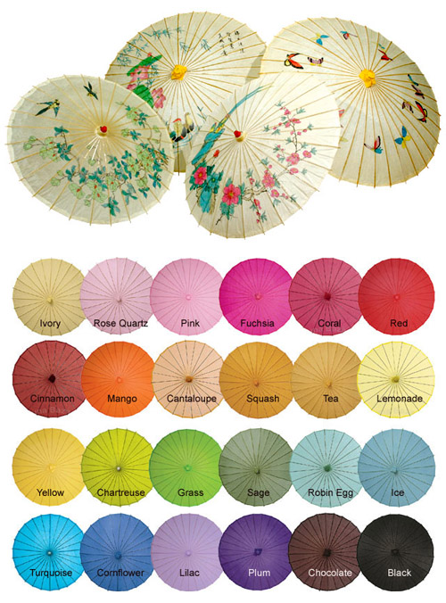 paper parasols for summer weddings from PearlRiver.com | via junebugweddings.com