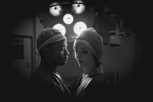 Doctor's engagement photos in an operating room, by Jacki Bruniquel | junebugweddings.com