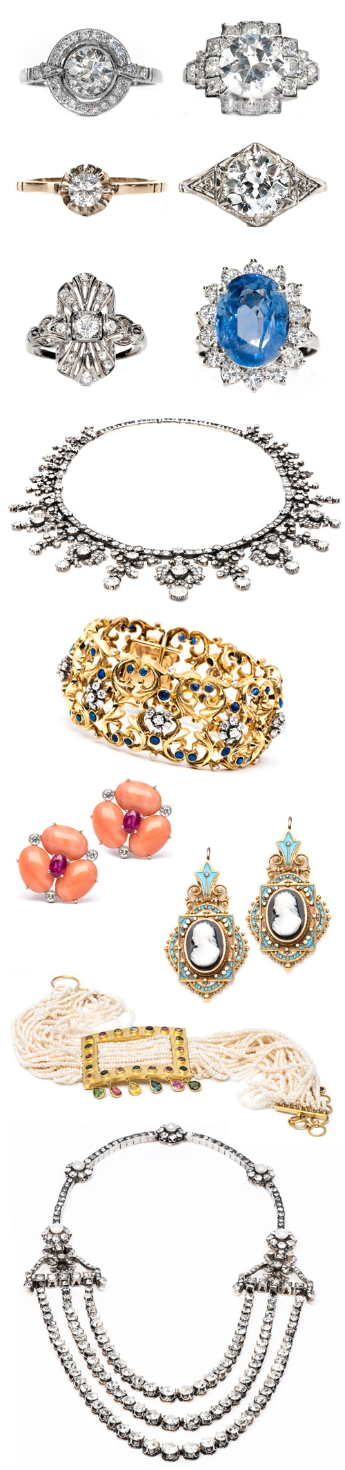 Vintage Estate Jewelry from Trumpet and Horn via Junebug Weddings | junebugweddings.com