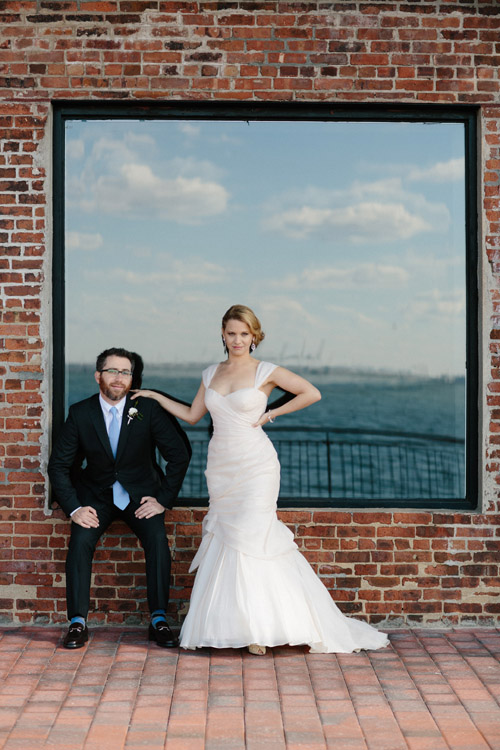 industrial wedding at The Liberty Warehouse, Brooklyn, NY with woodland decor - Elizabeth Duncan Events and Gulnara Studios | via junebugweddings.com