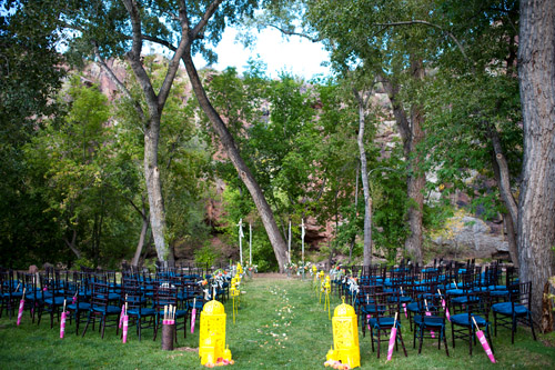 colorful yellow peacock blue and teal wedding in colorado photo by nate and jenny