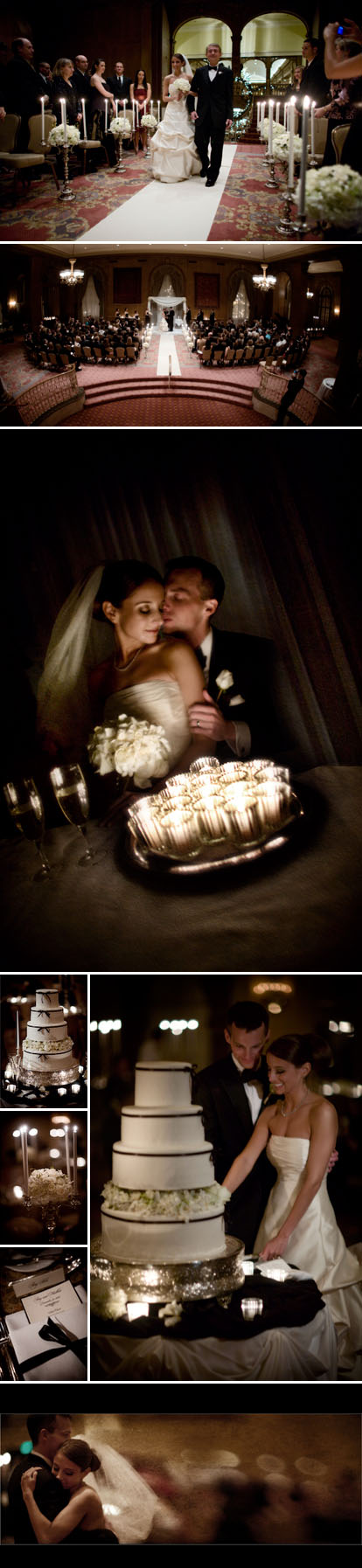 J Garner Photography, romantic ivory and black winter wedding at the Seattle Fairmont Olympic Hotel