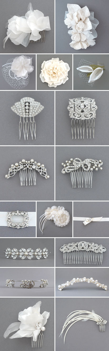 bridal hair accesories, veils, hair combs, fabric hair flowers and feathers from Bride's Head Revisited