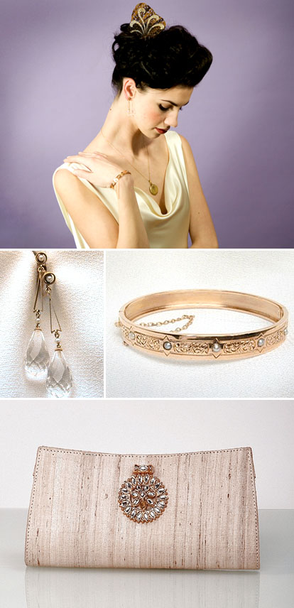 antique bridal earrings and bracelet, gold bridal clutch