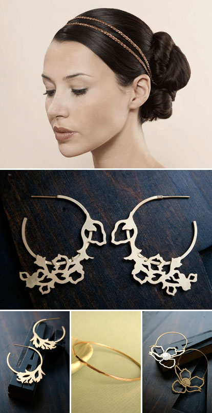 ultra modern gold bridal jewelry and accessories for a vintage inspired wedding