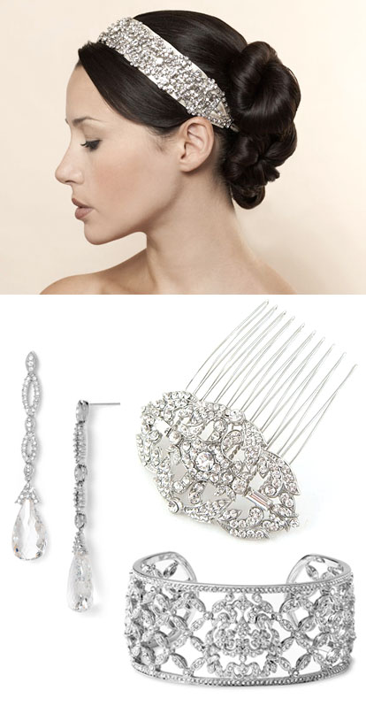 glamorous rhinestone jewelry and hair accessories for a vintage inspired wedding