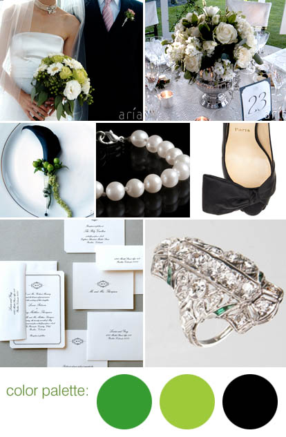 green, black and white wedding color pallete for spring