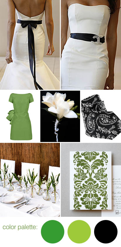 Black White And Green Wedding Color Palette Junebug Weddings